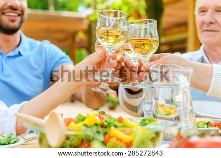 Cheers to us! Close-up people sitting at the dining table and toasting with wine  - stock photo