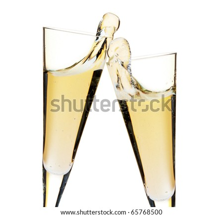 Cheers! Two champagne glasses. Closeup, isolated on white - stock photo