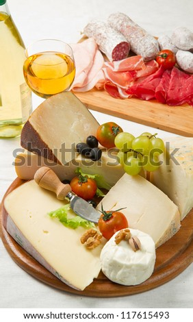 cheese and cold cuts - stock photo