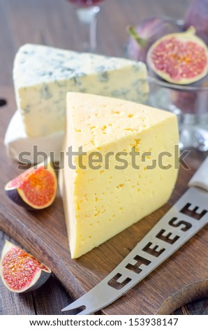 cheese and figs - stock photo