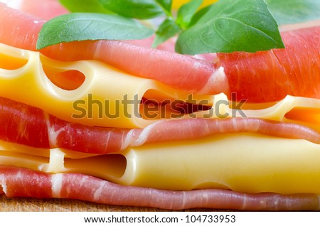 cheese and ham - stock photo