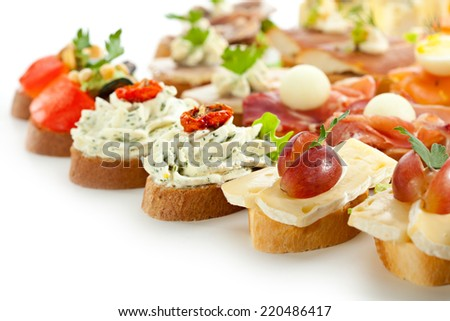 Cheese and Meat Canapes. Selective Focus - stock photo