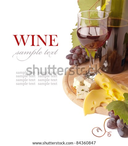 Cheese and red wine, isolated on white background - stock photo