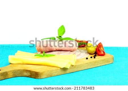 Cheese and salami  - stock photo