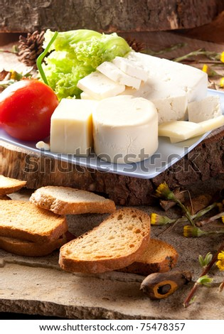 Cheese assortment on a rustic background - stock photo