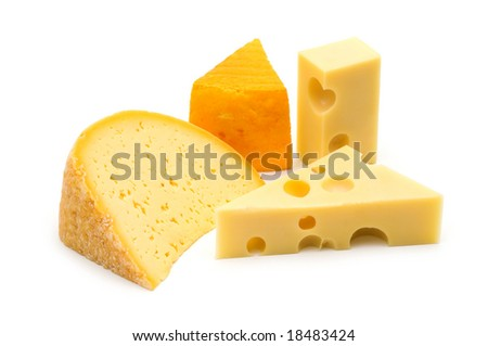 cheese assortment on white background - stock photo