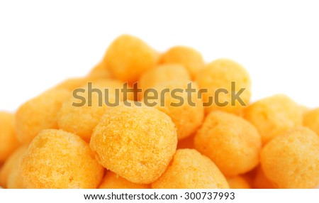 Cheese Balls Isolated on White Background - stock photo