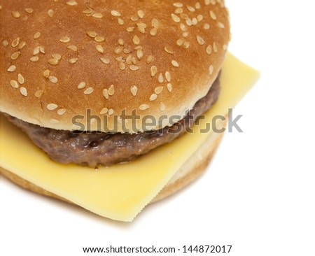cheese burger isolated on white background - stock photo