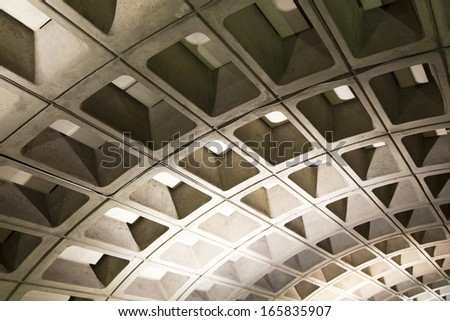 Cheese cake patterned roof in underground Washington D.C. Metrorail commuter trains - stock photo