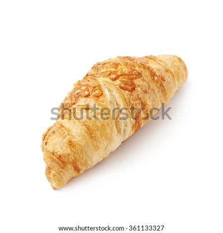 Cheese croissant pastry isolated - stock photo