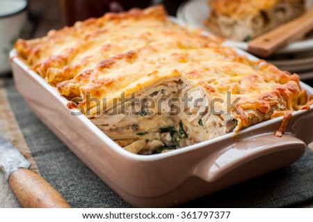 Cheese Crusted Crepe Bake, copy space for your text - stock photo