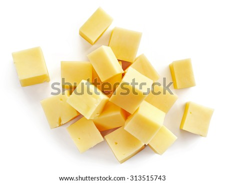 cheese cubes isolated on white background, top view - stock photo