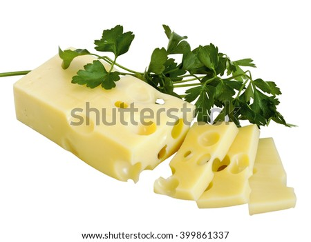 Cheese emmental and parsley isolated on white background - stock photo