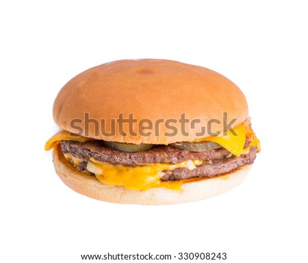 Cheese hamburger isolated on white background - stock photo