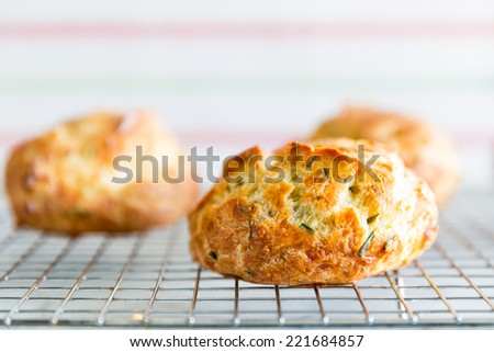 Cheese herb puff rolls on a cooling rack. French gougere. Close up with selective focus on the foreground puff. Copy space. - stock photo