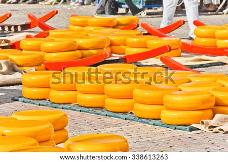 Cheese market, The Netherlands - stock photo