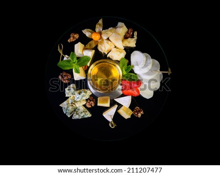 Cheese plate top view - stock photo