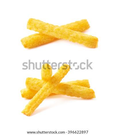 Cheese puff sticks isolated - stock photo