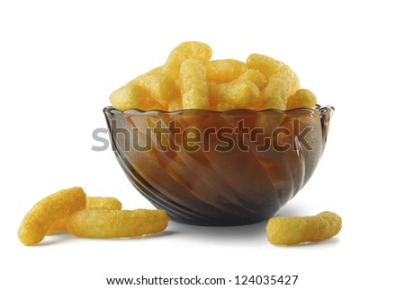 Cheese puffs in a vase on a white background - stock photo