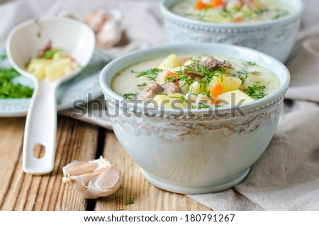 Cheese soup with chicken and vegetables - stock photo