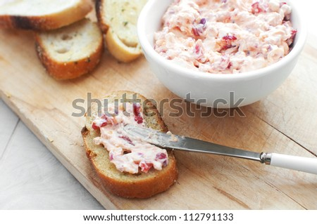 Cheese spread with toasted bread - stock photo
