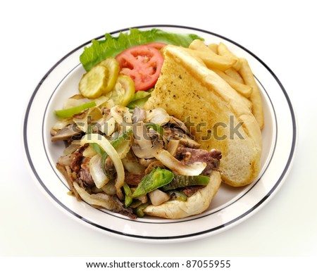 Cheese Steak Sandwich In A Plate, Close Up - stock photo