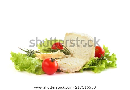 Cheese, tomatoes and lettuce leaves still life  isolated on white background - stock photo
