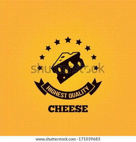 cheese vintage label design background illustration - stock photo