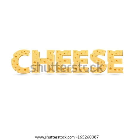 Cheese word of cheese. Word template - stock photo