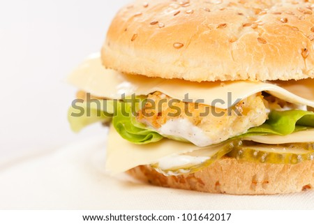 cheeseburger on the plate - stock photo