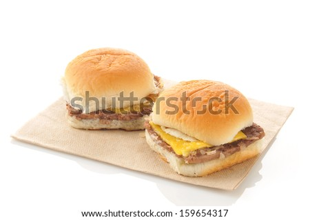 Cheeseburger sliders on a white background - stock photo