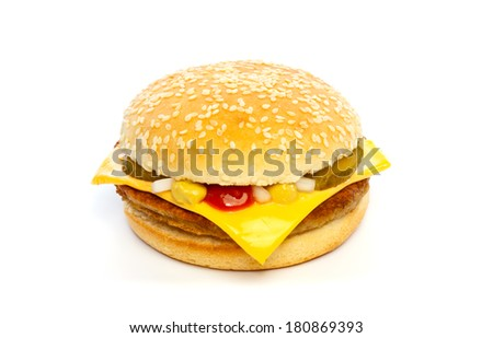 Cheeseburger with cheese, pickles, onion and sauce on white background - stock photo