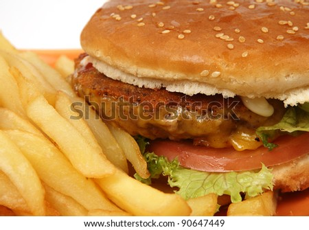 cheeseburger with fries - stock photo