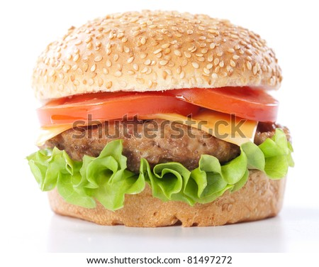 Cheeseburger with tomatoes and lettuce isolated on white - stock photo