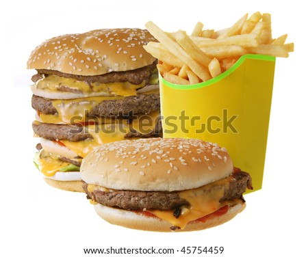 Cheeseburgers and French fries isolated on white background - stock photo
