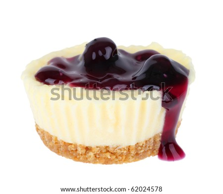Cheesecake cupcake topped with blueberries isolated on white - stock photo