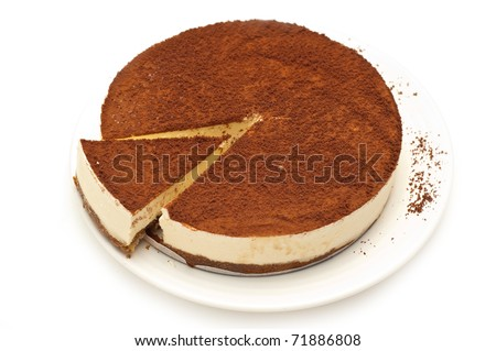cheesecake isolated on a white background - stock photo