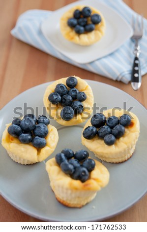 Cheesecake Muffins with blueberries - stock photo