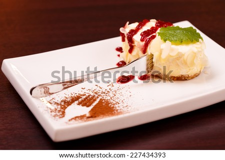 Cheesecake ready to eat in restaurant - stock photo