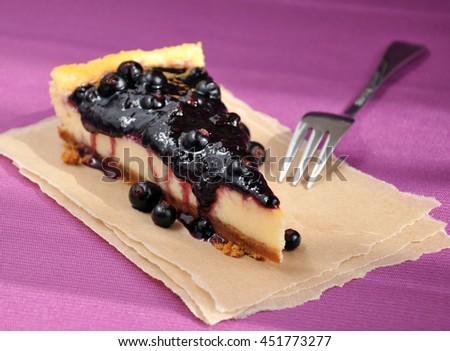 Cheesecake slice closeup - stock photo