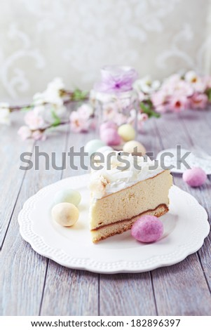 Cheesecake with Coconut for Easter - stock photo