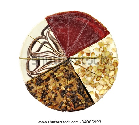 cheesecakes slices, amaretto,chocolate swirl,chocolate turtle and white chocolate raspberry - stock photo