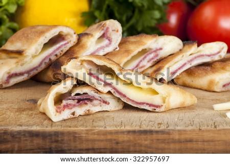 Cheesed bacon Black Sea pide - stock photo