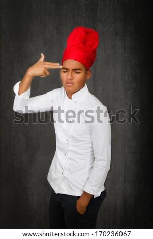 chef bad moment metaphor - stock photo