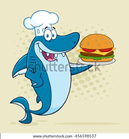 Chef Blue Shark Cartoon Mascot Character Holding A Big Burger. Raster Illustration With Halftone Background - stock photo