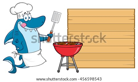 Chef Blue Shark Cartoon Mascot Character Licking His Lips And Holding A Spatula By A Barbeque With Roasted Burgers To Wooden Blank Board. Raster Illustration Isolated On White Background - stock photo
