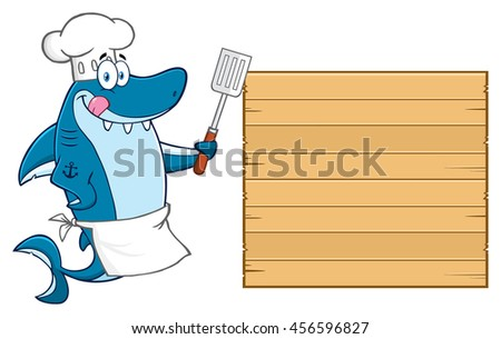 Chef Blue Shark Cartoon Mascot Character Licking His Lips And Holding A Spatula To Wooden Blank Board. Raster Illustration Isolated On White Background - stock photo