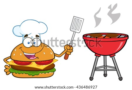 Chef Burger Cartoon Mascot Character Holding A Slotted Spatula By A Barbecue. Raster Illustration Isolated On White Background - stock photo