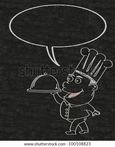 chef cartoon and talk bubble written on a blackboard background - stock photo