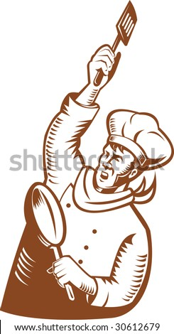 Chef cook revolutionary style holding up a spatula and a frying pan - stock photo